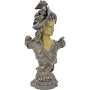 Circa 1900 Art Nouveau Spelter Bronze Bust Beautiful Woman Fashionable Hat