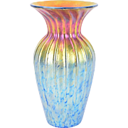 Lundberg Studios Ribbed Art Glass Vase Iridescent Sunset II Pattern