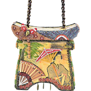Mary Frances Japanese Geisha Theme Hard Box Pagoda Handbag w Embellishments