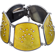 Mid-Century Modern Scandinavian Guilloche Enameled Silver Link Bracelet Rasmussen