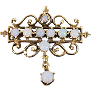 Vintage Victorian Style 14k Yellow Gold and Opal Cabochon Pin Brooch