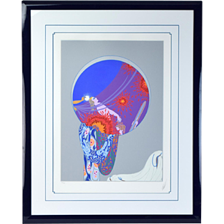 """Erte Art Deco """"Nature's Vanity"""" Limited Edition Serigraph Signed Numbered"""