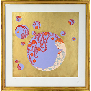 """Erte Art Deco """"Spring Shadows - Gold"""" Limited Edition Serigraph Signed Numbered"""