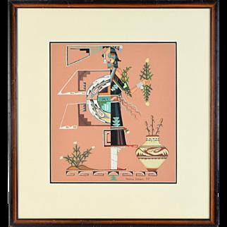Original 1983 Geraldine Gutierrez Painting San Ildefonso Native American Indian Art