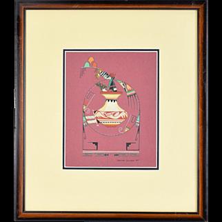 Original 1984 Geraldine Gutierrez Painting San Ildefonso Native American Indian Art