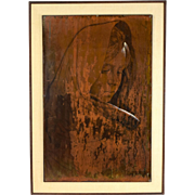1964 Mid-Century Mexican Painting Copper Contemplative Woman Jose Chavez Huacuja
