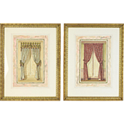 Pair 19th Century Original Watercolor Painting Window Curtains Interior Designs
