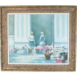 Jean Daumier Impressionist Painting Women Flower Mongers at Flower Market