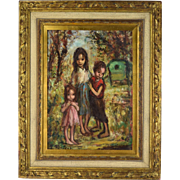 Vintage French Mid-Century Oil Painting Group Gypsy Children Georgette Nivert