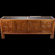 Henredon Mid Century Modern Sideboard Buffet Carved Starburst Doors Slate Top