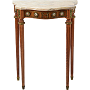 French Style Marble Top Hall Console Table Ormolu Mounts Porcelain Medallions