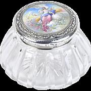 Gorham Sterling Silver Hand Painted Enamel Jar Ceres Harvest Goddess