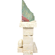 Vintage Modern Geometric Travertine Marble Sculpture Polished & Rough Edge