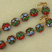 Vintage 1940's Rhinestone Clip On Earrings