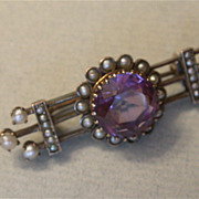 Antique  Estate Amethyst &  Seed Pearl Brooch