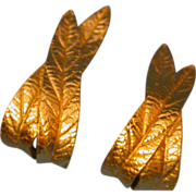 Trifari Goldtone 'Leaf' Earrings
