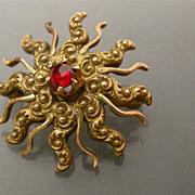 Vintage Repousse Sun Brooch