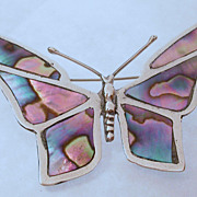 Early Mexican Sterling Silver & Abalone Butterfly Brooch hallmarked