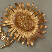 Vintage Sunflower Brooch hallmarked Marvella