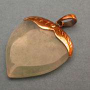 Natural Jade  & 14K Gold  Acorn Pendant