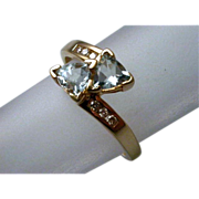 Vintage Diamond & Blue Topaz 10K Gold Ring size 7.5