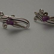 Early Taxco Sterling Silver & Amethyst  Screwback Earrings hallmarked