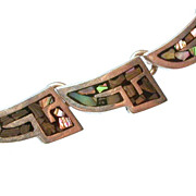 Mexican Sterling Silver & Abalone Necklace Hallmarked