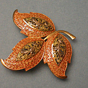 Vintage Sterling Silver Filagree Vermeil Three Leaf Brooch