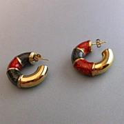 Italian Sterling Silver & Enamel Cuff Earrings