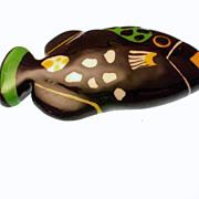 Signed Ruby Z Ceramic Fish Brooch