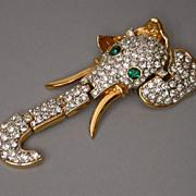 Swarovski Crystal Encrusted Mechanical  Elephant Brooch hallmarked