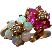 Stunning Ruby, Opal & Diamond 14K Gold Ring hallmarked