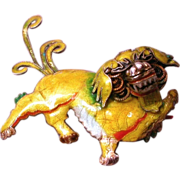 Chinese Foo Lion Enamelled Brooch