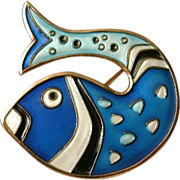 Signed David Anderson Sterling Silver Fish Brooch hallmarked