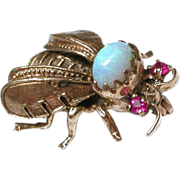 Vintage French 14K Gold Bumble Bee Brooch with Opal & Rubies hallmarked