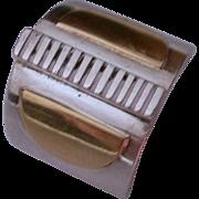 Vintage, Modernist 18K Gold & Sterling Silver Ring hallmarked