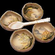 Set of 4 Japanese Porcelain Salts hallmarked
