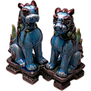 Vintage Pair Chinese Foo Lion Figurines Numbered