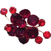 Vintage Red Rhinestone Brooch