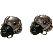 Early Mexican Sterling Silver Onyx Faced Woman with Turban Earrings hallmarked
