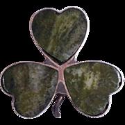 Vintage Connemara Irish Marble English Silver 3 Leaf Clover Lapel Pin / Brooch Hallmarked