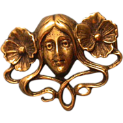 Deco Era Arts & Crafts  Hand Wrought Bronze Brooch