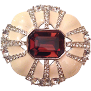 Vintage Kenneth Jay Lane Rhinestone Studded Enameled Brooch Hallmarked