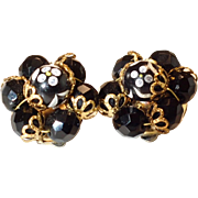 Vintage Black Beaded Glass Rhinestone Clip On Earrings
