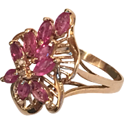 Ruby & Diamond 14K Gold Cocktail Cluster Ring hallmarked