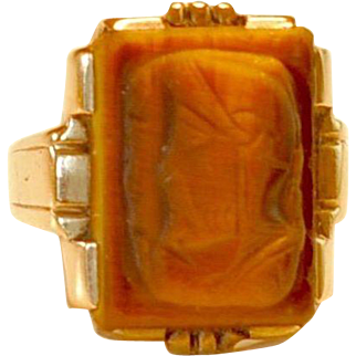 Egyptian Revival Carved Tiger's Eye Gold Ring hallmarked