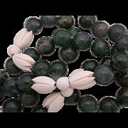 "Jade and Carved Bone Hand Strung 30"" Necklace"