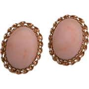 Beautiful Estate 14K Gold & Coral  Clip On Earrings  hallmarked