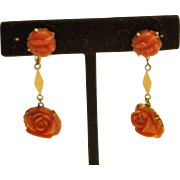 Beautiful Estate 18K Gold & Carved Coral Drop Screwback Earrings