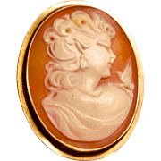 Beautiful Estate 18K Gold Cameo Brooch Pendant Marked